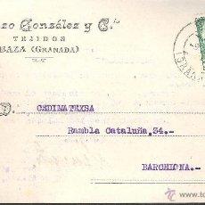Postales: TARJETA POSTAL COMERCIAL DE BAZA (GRANADA) TEJIDOS LORENZO GONZALEZ AÑO 1953. Lote 44112707