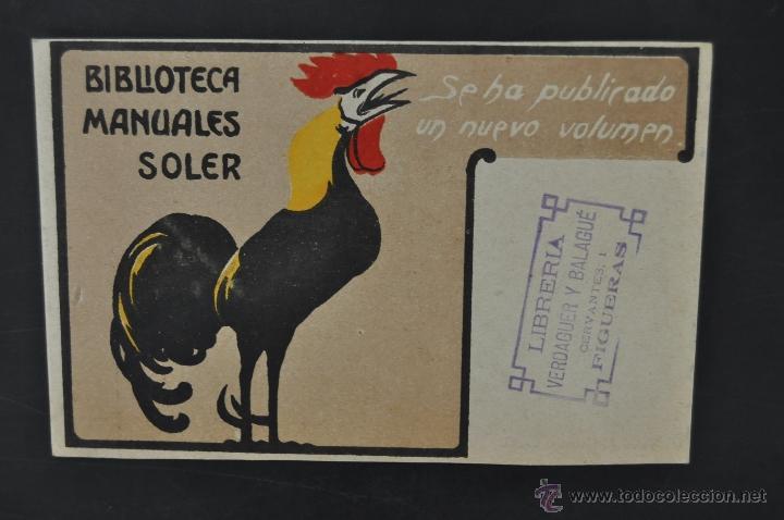 POSTAL PUBLICITARIA DE BIBLIOTECA MANUALES SOLER. SIN CIRCULAR (Postales - Postales Temáticas - Publicitarias)