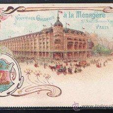 Postales: TARJETA POSTAL PUBLICITARIA DE GALERIAS MENAGERIE. PARIS.. Lote 44336879