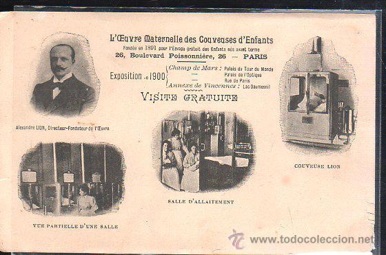 TARJETA POSTAL PUBLICITARIA. L'EUVRE MATERNELLE DES COUVEUSES D'ENFANTS. EXPOSICION UNIVERSAL 1900. (Postales - Postales Temáticas - Publicitarias)