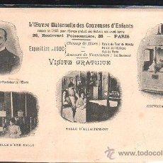 Postales: TARJETA POSTAL PUBLICITARIA. L'EUVRE MATERNELLE DES COUVEUSES D'ENFANTS. EXPOSICION UNIVERSAL 1900.. Lote 44349520