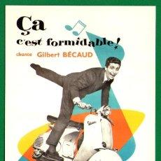 Postales: PUBLICIDAD DE MOTO VESPA CON GILBERT BÉCAUD - TARJETA POSTAL SIN USAR - BIEN CONSERVADA. Lote 45514030