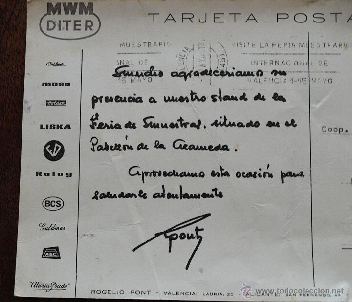 Postales: TARJETA POSTAL ROGELIO PONT. VALENCIA. MAQUINARIA. FERIA MUESTRAS LA ALAMEDA. 1969. VER FOTOS Y MAS. - Foto 8 - 45524490