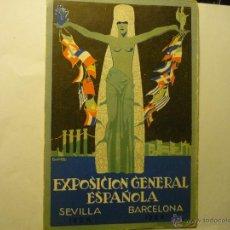 Postales: POSTAL EXPOSICION GENERAL ESPAÑOLA-SEVILLA-BARCELONA 1928-29 BB. Lote 45621531
