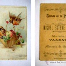 Postales: ANTIGUA TARJETA PUBLICIDAD : TIENDA DE LA PURISIMA, MIGUEL ESTEVE SANCHIS, VALENCIA. Lote 45792660
