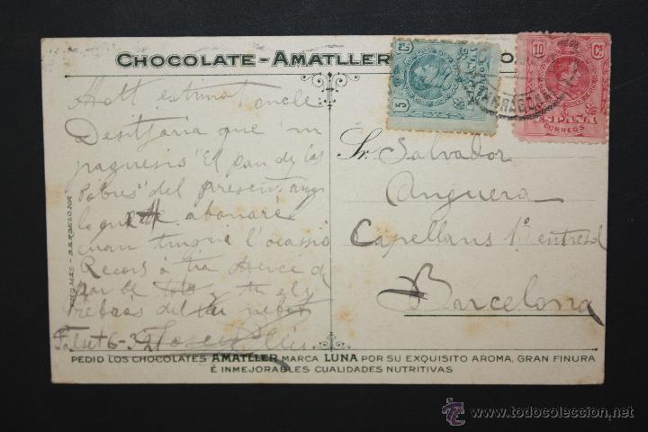 Postales: ANTIGUA POSTAL PUBLICITARIA DE CHOCOLATE-AMATLLER. CAMINO DE LA ALDEA. CIRCULADA - Foto 2 - 45954889