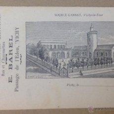 Postales: FABRIQUE DE GANTS. SPECIALITÉ DE VIOLLETTES, GRAVATTES. E. BARREL. VICHY. PUBLICIDAD. . Lote 45962617