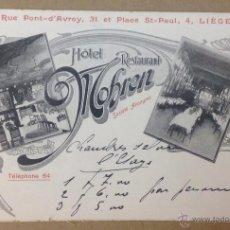 Postales: HOTEL RESTAURANT MOBREN. LIEGE. PUBLICIDAD. . Lote 45962673