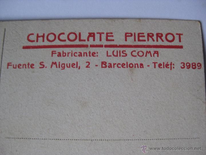 Postales: POSTAL PUBLICIDAD CHOCOLATE PIERROT, MUY RARA - Foto 3 - 46146314