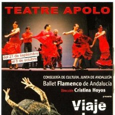 Postales: VIAJE AL SUR -BALLET FLAMENCO DE ANDALUCÍA * CRISTINA HOYOS *- TEATRE APOLO (BCN). Lote 246343290