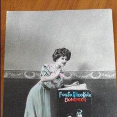 Postales: ANTIGUA TARJETA POSTAL ROMANTICA PUBLICIDAD FARMACIA TONICO FOSFO GLICOKOLA BARCELONA 1914. Lote 46485943