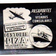 Postales: POSTALITA PUBLICITARIA,GESTORÍA PIZA,ISLAS BALEARES,PALMA DE MALLORCA,LUZ FIJA DE LOS CINES. Lote 46648369