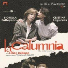 Postales: Nº 18579 POSTAL PUBLICIDAD OBRA DE TEATRO LA CALUMNIA. Lote 46670931