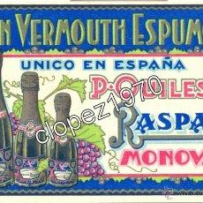 Postales: POSTAL PUBLICITARIA, GRAN VERMOUTH ESPUMOSO, P-QUILES, RASPAY, MONOVAR, RARISIMA. Lote 47073517