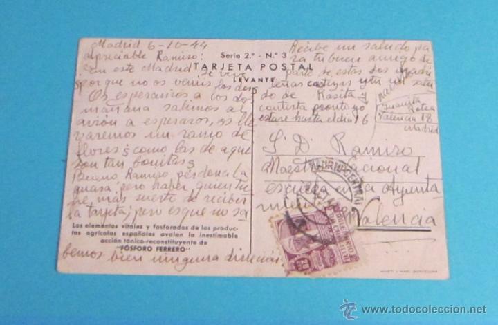Postales: TARJETA POSTAL CIRCULADA FÓSFORO FERRERO. SERIE 2ª Nº 3. LEVANTE - Foto 2 - 47518734