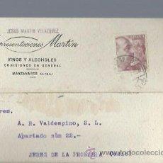 Postales: TARJETA PUBLICITARIA REPRESENTACIONES MARTÍN VINOS Y ALCOHOLES, MANZANARES, CIUDAD REAL. Lote 47565455