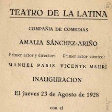 Postales: PUBLICITARIA DEL TEATRO DE LA LATINA- . Lote 47915784