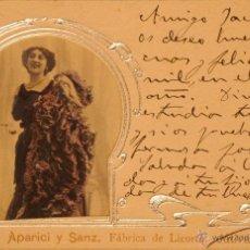 Postales: LICORES APARICI Y SANZ - JATIVA - ILUSTRADA - CIRCULADA Y DORSO SIN DIVIDIDIR. Lote 48301400