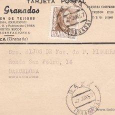 Postales: TARJETA POSTAL COMERCIAL BAZA(GRANADA).- ALMACEN DE TEJIDOS CASA GRANADOS. Lote 48587628
