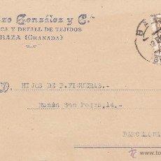 Postales: TARJETA POSTAL COMERCIAL DE BAZA (GRANADA)- LORENZO GONZALEZ Y CIA -FABRICA DE TEJIDOS Y DETALL. Lote 48592815