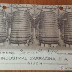 Postales: ANTIGUA TARJETA POSTAL PUBLICITARIA BODEGAS INDUSTRIAL ZARRACINA S.A. GIJON. Lote 48615862