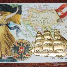 Postales: POSTAL DE PUBLICIDAD DE CHOCOLATES COLOMBIA, SANTANDER, MUELLE, EL BARCO ES METALICO, ED. KUNSTDRUCK. Lote 48758346