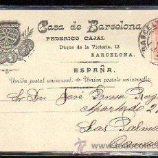 Postales: TARJETA POSTAL PUBLICITARIA. CASA DE BARCELONA. FEDERICO CAJAL. 1899. VER DORSO. Lote 48769261