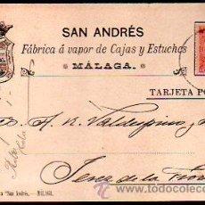 Postales: TARJETA POSTAL PUBLICITARIA. SAN ANDRES. FABRICA A VAPOR DE CAJAS Y ESTUCHES. MALGA. 1900. VER DORSO. Lote 48769300