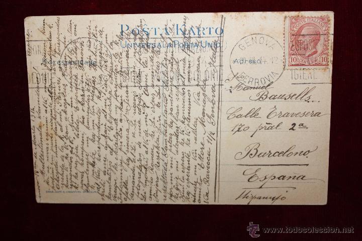 Postales: ANTIGUA POSTAL DE LA EXPOSICION INTERNACIONAL DE GENOVA. ITALIA. AÑO 1914. CIRCULADA - Foto 2 - 49171908