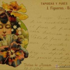 Postales: TAPIOCAS Y PURES J FIGUERAS - ILUSTRADA - CIRCULADA Y DORSO SIN DIVIDIDIR. Lote 49286911