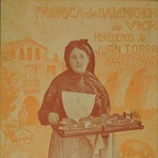 Postales: FABRICA DE SALCHICHON JUAN TORRA - ILUSTRADA CIRCULADA Y DORSO DIVIDIDO. Lote 49290318
