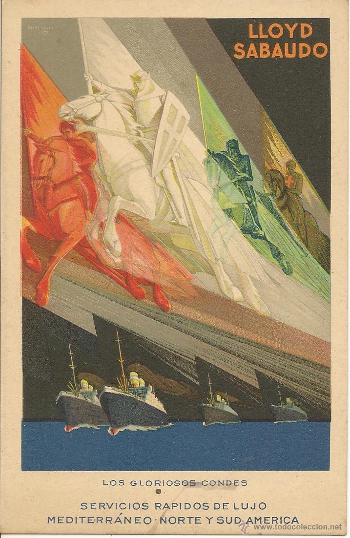 TARJETA POSTAL PUBLICITARIA. LLOYD SABAUDO. EXPOSICIÓN GENERAL ESPAÑOLA. SEVILLA - BARCELONA 1929. (Postales - Postales Temáticas - Publicitarias)