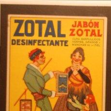 Postales: DESINFECTANTE ZOTAL - ILUSTRADA SIN CIRCULAR Y DORSO DIVIDIDO. Lote 49402187