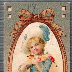 Cartes Postales: TARJETA PUBLICITARIA HEMERIN. OBSEQUIO DROGUERIA SARRA, NIÑA CON SOMBRERO Y FLORES. Lote 49444279