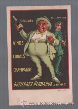 TARJETA POSTAL PUBLICITARIA. VINOS, COÑACS Y CHAMPAGNE. GUTIERREZ HERMANOS. JEREZ. (Postales - Postales Temáticas - Publicitarias)