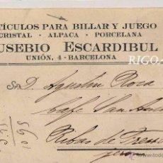 Postales: BARCELONA.- EUSEBIO ESCARDIBUL- ARTICULOS PARA BILLAR Y JUEGO. Lote 50953581