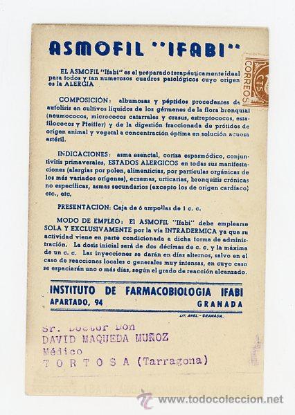 Postales: POSTAL PUBLICIDAD FARMACEUTICA. ASMOFIL (GRANADA) - Foto 2 - 50963760