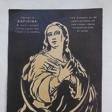 Postales: ANTIGUA TARJETA PUBLICIDAD : INMACULADA. ASPIRINA BAYER. Lote 51514817