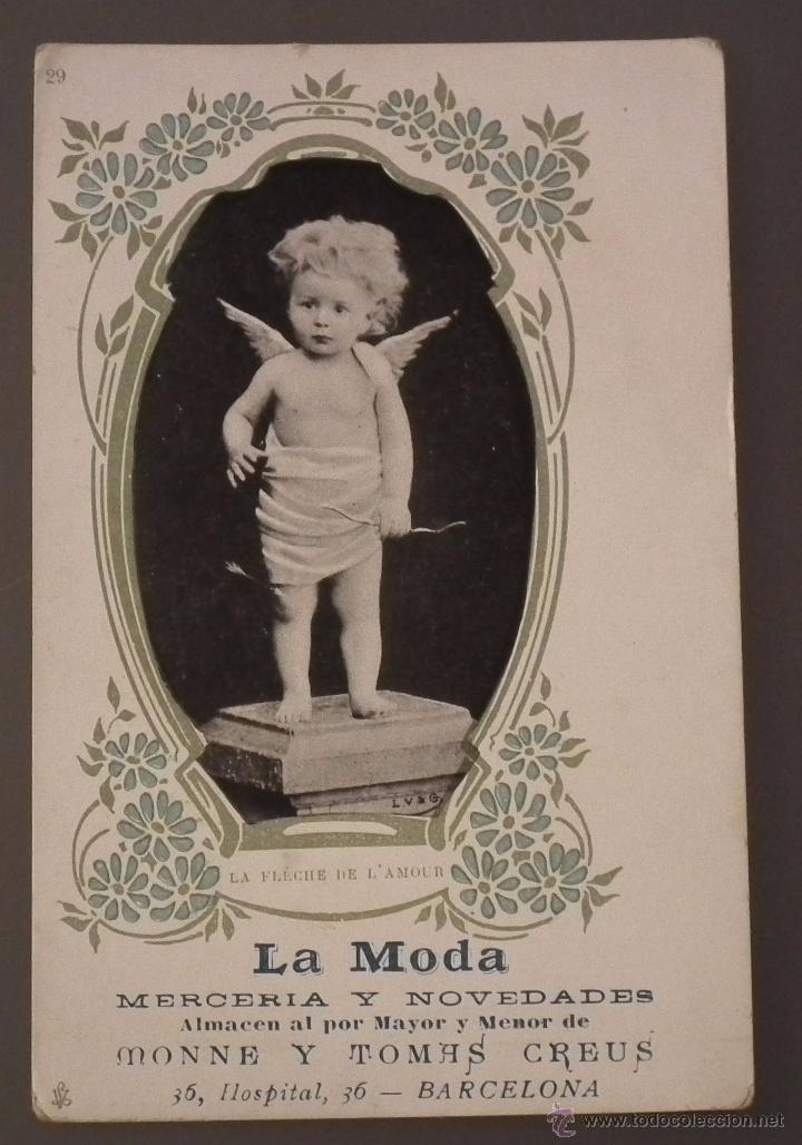 POSTAL MODERNISTA CON PUBLICIDAD DE LA MODA, MERCERÍA Y NOVEDADES. ALMACÉN AL POR MAYOR Y MENOR (Postales - Postales Temáticas - Publicitarias)
