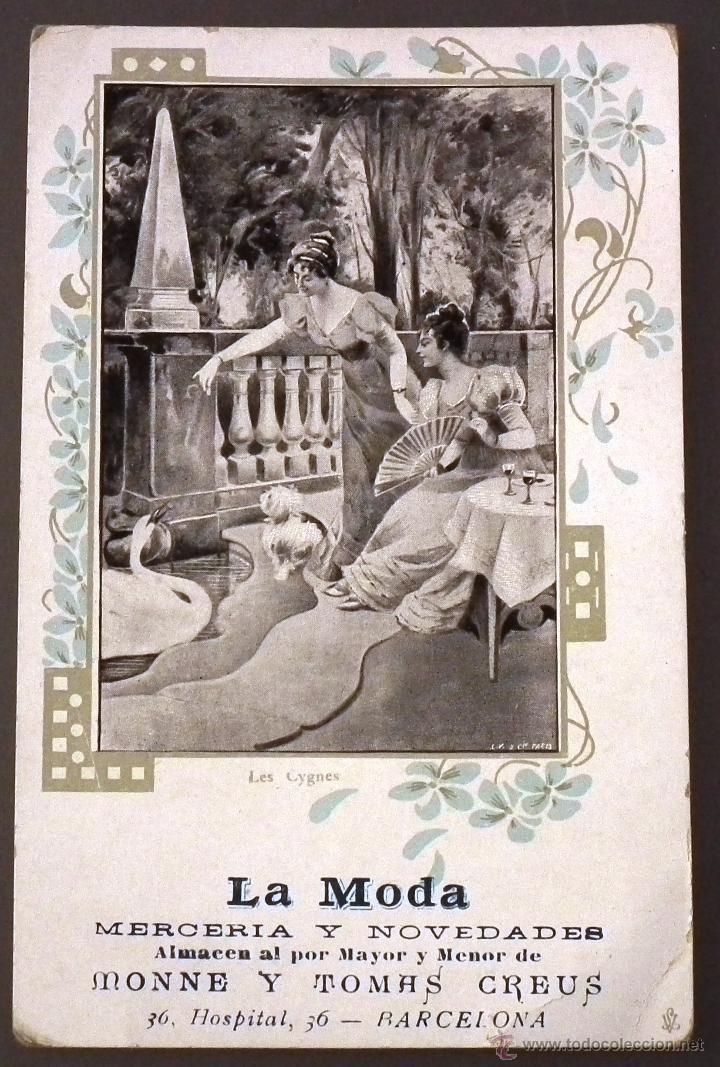POSTAL MODERNISTA CON PUBLICIDAD DE LA MODA, MERCERÍA Y NOVEDADES, ALMACEN AL POR MAYOR Y MENOR (Postales - Postales Temáticas - Publicitarias)