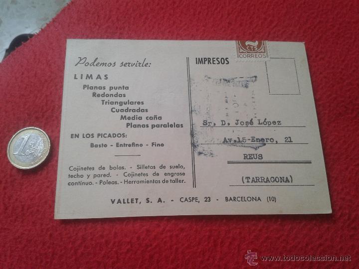 Postales: ANTIGUA POSTAL PUBLICITARIA PUBLICIDAD VALLET, S.A. LIMAS TARRAGONA BARCELONA CASPE, 23 MUY ESCASA I - Foto 2 - 52136967
