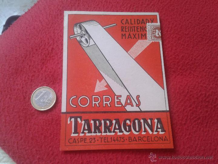 ANTIGUA POSTAL PUBLICITARIA PUBLICIDAD VALLET, S.A CORREAS TARRAGONA BARCELONA CASPE, 23 MUY ESCASA (Postales - Postales Temáticas - Publicitarias)