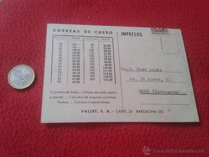 Postales: ANTIGUA POSTAL PUBLICITARIA PUBLICIDAD VALLET, S.A CORREAS TARRAGONA BARCELONA CASPE, 23 MUY ESCASA - Foto 2 - 52137145