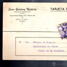 Postales: TARJETA POSTAL PUBLICITARIA. JUAN GUTIERREZ MARTINEZ. COMISIONES. REINOSA, SANTANDER. 1945. Lote 52495274