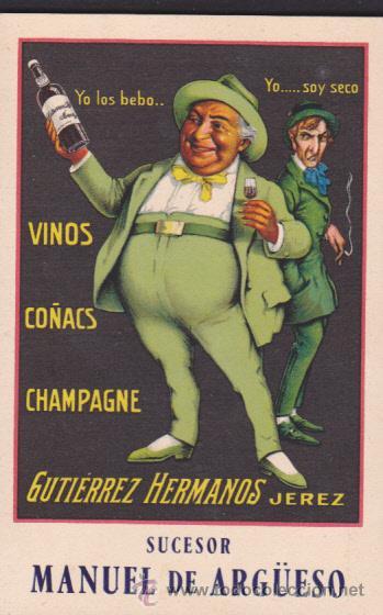 POSTAL PUBLICITARIA VINOS COÑACS CHAMPAGNE GUTIERREZ HERMANOS JEREZ (Postales - Postales Temáticas - Publicitarias)