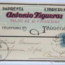 Postcards - Tarjeta de Pedidos / Publicitaria 1927 - Librería Antonio Figueras, Tárrega,Lérida / Lleida - 52548754