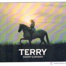 Postales: POSTAL ANTIGUA TERRY SHERRY & BRANDY MUJER CABALLO BLANCO SIN RELLENAR. Lote 52557555