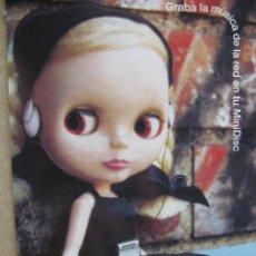 Postales: GRABA LA MUSICA DE LA RED EN TU MINI DISC. WALKMAN. (BLYTHE TROQUELADA) SONY. Lote 52638299