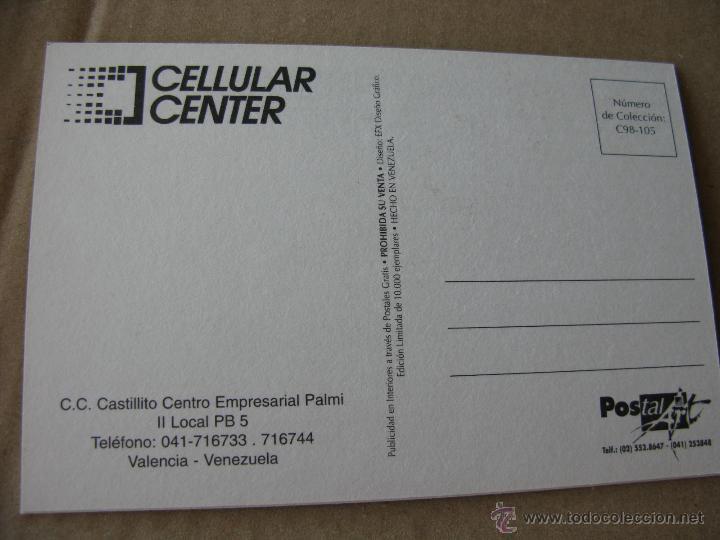 Postales: CELLULAR CENTER. TELCEL. AGENTE AUTORIZADO. CARACAS. VENEZUELA. 1998. - Foto 2 - 52856544