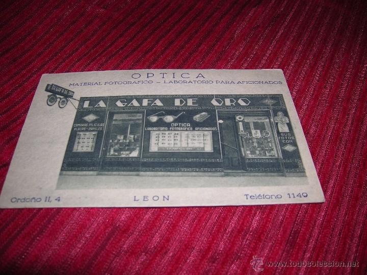 PRECIOSA POSTAL ANUNCIANDO OPTICA LA GAFA DE ORO LEÓN (Postales - Postales Temáticas - Publicitarias)
